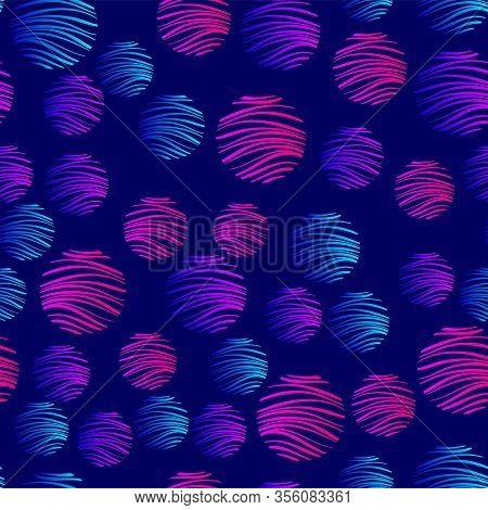 Gradient Geometry In A Modern Style On A Dark Blue Background. Abstract Pattern. Violet, Blue, Pink
