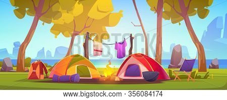 Summer Camp With Tent, Campfire, Trees, Lake And Mountains On Background. Vector Cartoon Landscape O