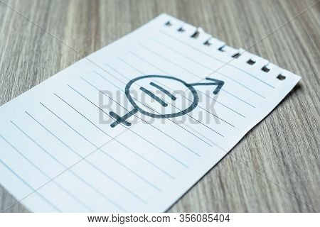 Paper Note With Gender Of Lgbtq Symbol For Lesbian, Gay, Bisexual, Transgender And Queer Community