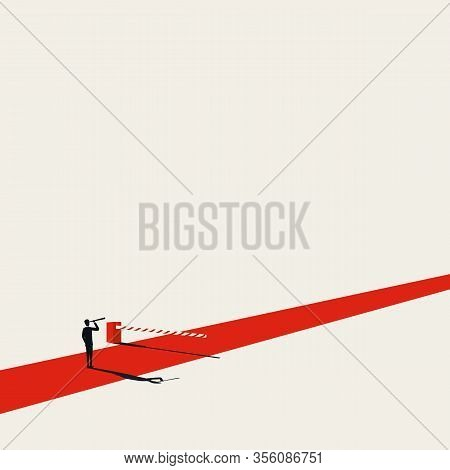 Business Barrier Overcome With Visionary Businessman Vector Concept. Symbol Of Future, Problem Solvi