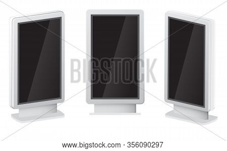 Outdoor White Lightbox Citylight Advertising Stand. Advertising Digital Signage Mockup. City Outdoor
