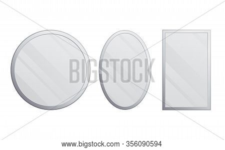 Vector Set Realistic Mirrors. Metal Round And Rectangular Mirror Frame, White Mirrors Template