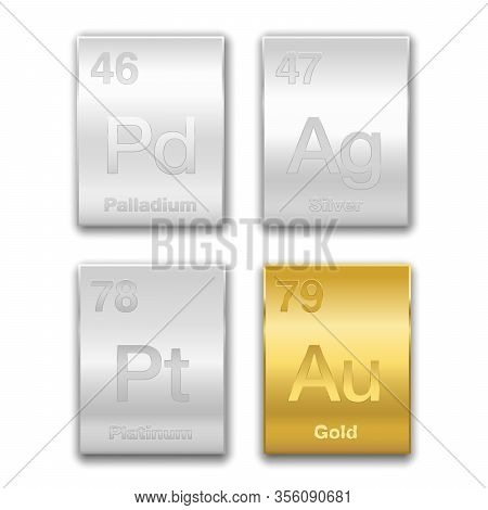 Gold, Silver, Platinum, Palladium On Periodic Table. Precious Metals, Chemical Elements With A High