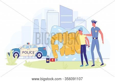 Police Officer Arresting Boy Street Artist. Teenage Offender. Policeman And Young Crime Handcuffed G