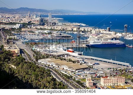 Spain, Barcelona, June, 27, 2015 - Port Vell With A Huge Cargo And Passenger Terminals At Barcelona