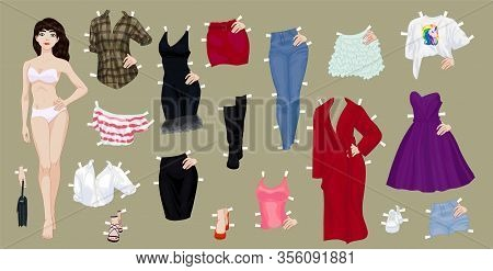 Paper Doll Of A Pretty Brunette Girl With A Variety Of Paper Clothes And Shoes