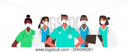 Coronavirus 2019-ncov. Set Of Doctors Characters In White Medical Face Mask. Stop Coronavirus Concep
