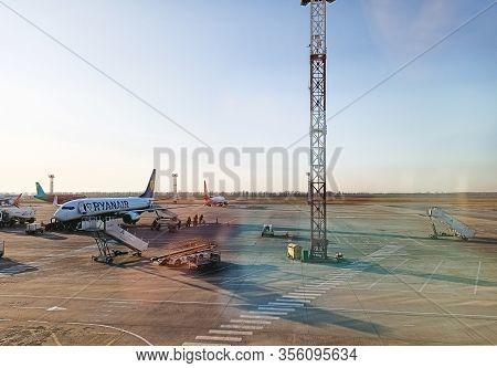 Kiev Ukraine 12 18 2019 Airport, Plane Near The Terminal Boarding, Disembarkation Of Passengers, Run