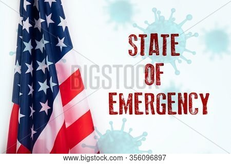 Concept of USA state of emergency, national lockdown due to coronavirus crisis