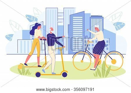 Elderly Energetic And Sporty People Riding Bicycle And Scooter In City Park. Senior People Healthy L