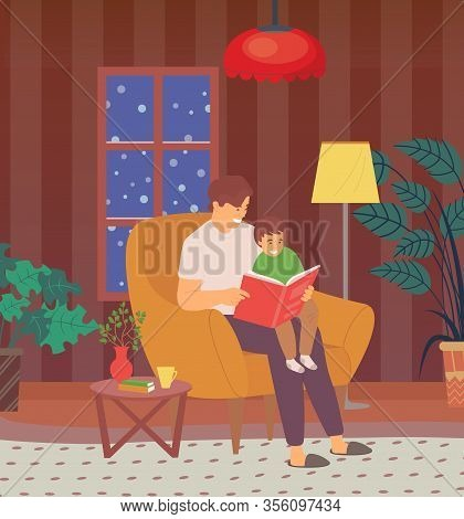 Fathers Care And Love At Home Vector, Dad Reads Bedtime Stories To Kid, Son Spends Time With Daddy L