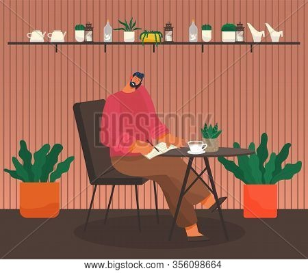 Man Sit In Coffeehouse. Guy Have Telephone Call And Note Thoughts In Notebook. Cup With Tea Or Coffe