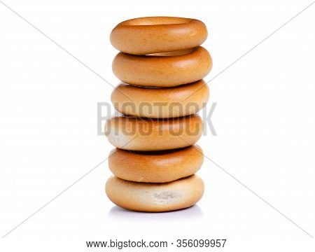 Small Bagels Drying On White Background Isolation