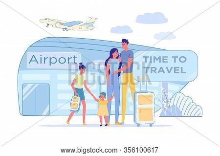 Time To Travel For Large Family Airport Ahead. Parents With Children Standing Near Airport And Ready