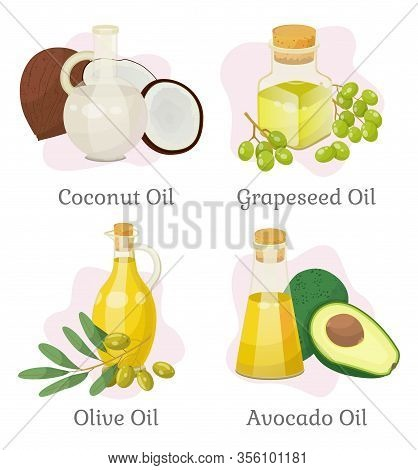 Collection Of Oils And Essences For Hair Growth And Care, Isolated Coconut And Olive, Grapeseed And