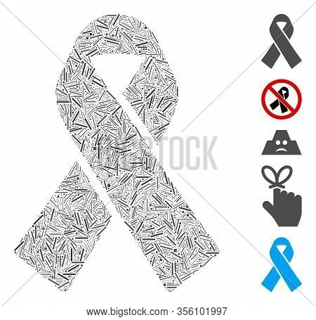 Line Mosaic Based On Mourning Ribbon Icon. Mosaic Vector Mourning Ribbon Is Composed With Randomized