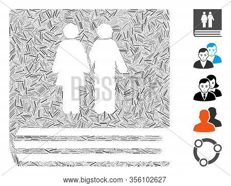 Hatch Mosaic Based On Family Album Icon. Mosaic Vector Family Album Is Created With Scattered Dash I