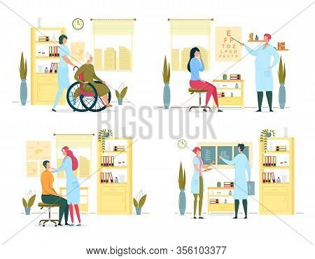 Regular Medical Examination In Consulting Room. Nurse Help Elderly Woman In Wheelchair. Eye Examinat