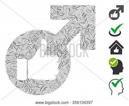Dash Mosaic Based On Excellent Erection Symbol Icon. Mosaic Vector Excellent Erection Symbol Is Crea