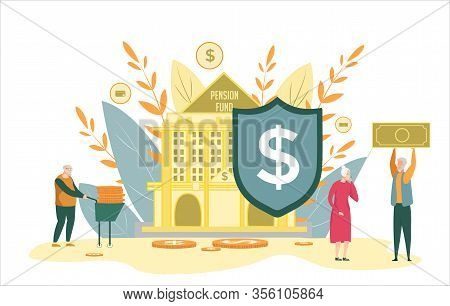 Old People Obtain Saving Money From Pension Fund. Pensioner In Casual Clothes Near State Institution