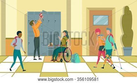 School Corridor. Girl In Wheelchair And Her Classmate By Blue Metal Lockers. Teenager With Pink Hair