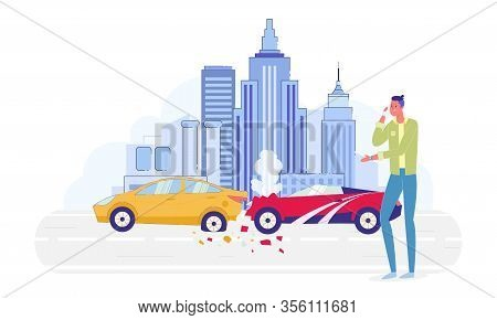 Disappointed Man Talking On Mobile Phone About Car Crash On City Road Flat Cartoon Vector Illustrati