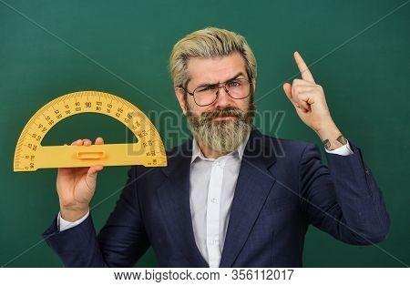 Personal Lesson. Mathematics And People Concept. Mathematics Favorite Subject. Man Teacher Use Math