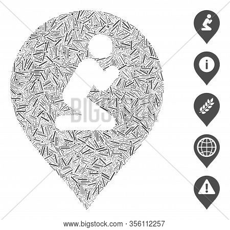 Hatch Mosaic Based On Prayer Map Marker Icon. Mosaic Vector Prayer Map Marker Is Designed With Rando