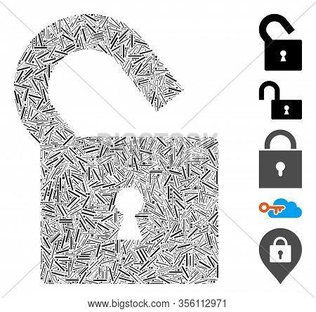 Dash Collage Based On Unlock Icon. Mosaic Vector Unlock Is Designed With Random Dash Items. Bonus Ic