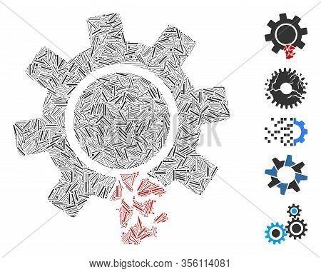Dash Mosaic Based On Damaged Gear Tooth Icon. Mosaic Vector Damaged Gear Tooth Is Composed With Rand