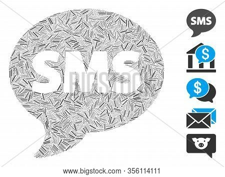 Dash Collage Based On Sms Icon. Mosaic Vector Sms Is Designed With Scattered Dash Dots. Bonus Icons