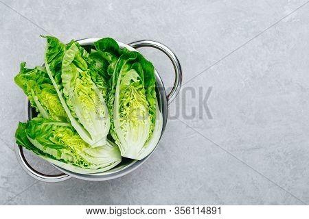 Fresh Green Romaine Lettuce For Caesar Salad On Gray Stone Background.