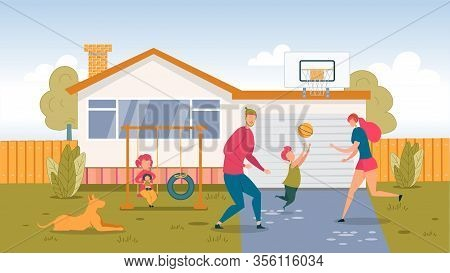 Happy Family Playing Ball On Backyard At Home. Young Father Mother And Schoolboy Son Play Basketball