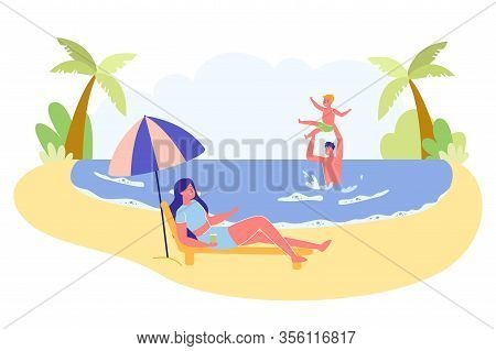 Family With Child Summer Vacation On Sea Shore Scene. People Cartoon Characters - Mother, Father And