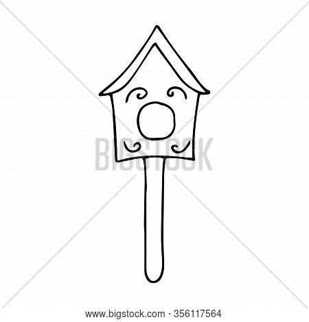 Cute Wooden Birdhouse. Black And White Illustration On A White Background In Doodle Style. Feeding T