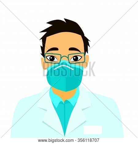 Vector Illustration Doctor Wearing Breathing Mask To Protect From 2019-ncov Talks About Chinese Coro