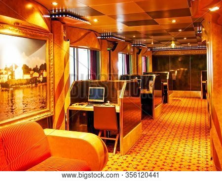 Kiel, Germany - June 1, 2009: Internet Point With Pc Workstations On Board The Cruise Ship Costa Mag