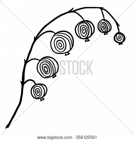 Red Currant Silhouette In Doodle Style On White Background. Black Illustration Like As Hand Drawn Be