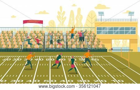 Boys Playing American Football On Field Flat Cartoon Vector Illustration. Guy Running With Ball To G