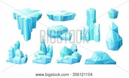 Crystals Of Ice, Iceberg Broken Pieces Of Ice, Icicles
