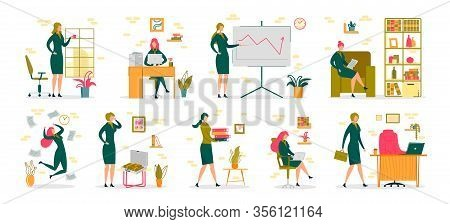Businesswoman In Office Activity And Occupation Scenes Set. Professional Woman Or Successful Female