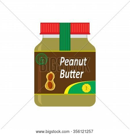 Tasty Peanut Butter Spread Isolated On White Background. Nut Seeds. Sweet Healthy Dessert With Glass