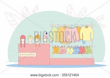 Wool Shop Interior Flat Cartoon Vector Illustration. Colorful Socks, Hats And Sweaters. Knitting Hob