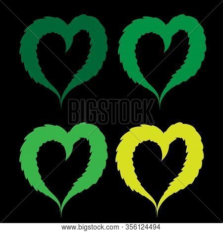 Heart Made From Bright Green Leaves Of Hemp Painted In Watercolor. Realistic Scientific Plant Illust