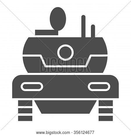 Modern Tank Solid Icon. Combat Fighting And Attack War Vehicle Symbol, Glyph Style Pictogram On Whit