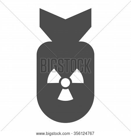 Atomic Bomb Solid Icon. Air Rocket With Radiation Or Nuclear Symbol, Glyph Style Pictogram On White