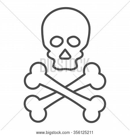 Jolly Roger Thin Line Icon. Death Warning, Skull And Crossbones Symbol, Outline Style Pictogram On W