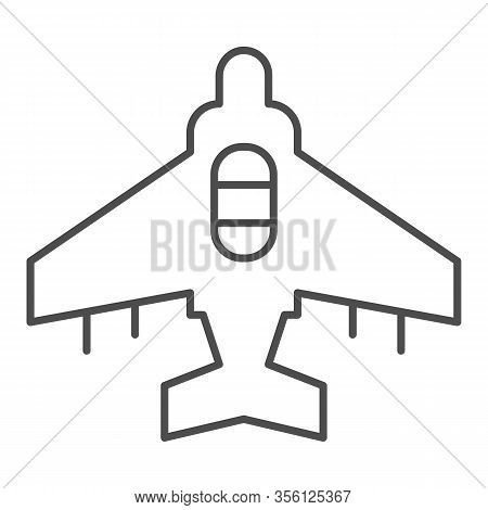 Fighter Plane Thin Line Icon. Military Aircraft, Reconnaissance Drone Symbol, Outline Style Pictogra