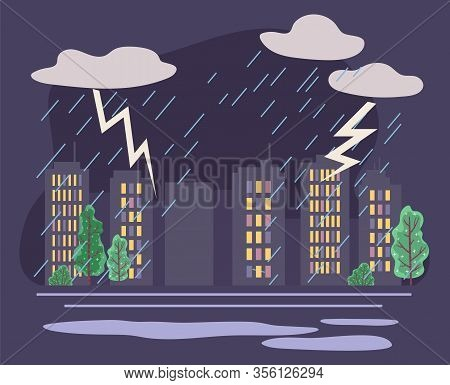 Bad Weather Conditions In City With Skyscrapers And Trees. Rainfall And Thunderbolts With Thick Clou