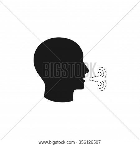 Human Head Profile With Cough Exhalation Flоw Black Isolated Vector Icon. Man Coughing Glyph.